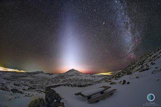 Parque Nacional del Teide nevado, Luz Zodiacal y Vía Láctea